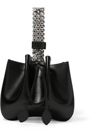 Bracelet eyelet-embellished leather bucket bag