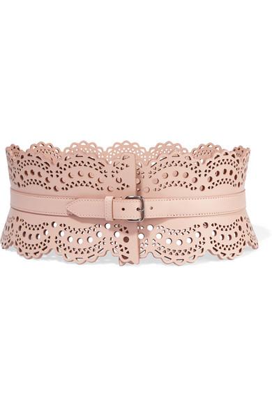 Vienne laser-cut leather waist belt