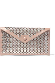 Envelope eyelet-embellished leather clutch
