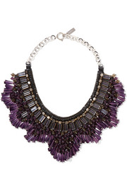 Etro Gold and silver-tone leather, bead and crystal necklace