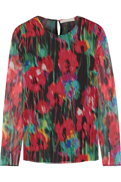 Jason Wu - Printed Silk-chiffon Top - Red