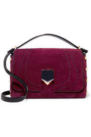 Jimmy Choo Lockett leather-paneled suede shoulder bag