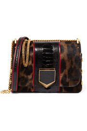 Jimmy Choo Lockett Petite ostrich-trimmed calf hair shoulder bag