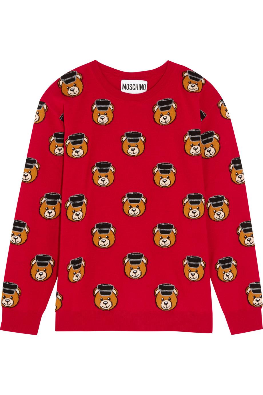 Moschino Intarsia Wool Sweater, Red, Women's