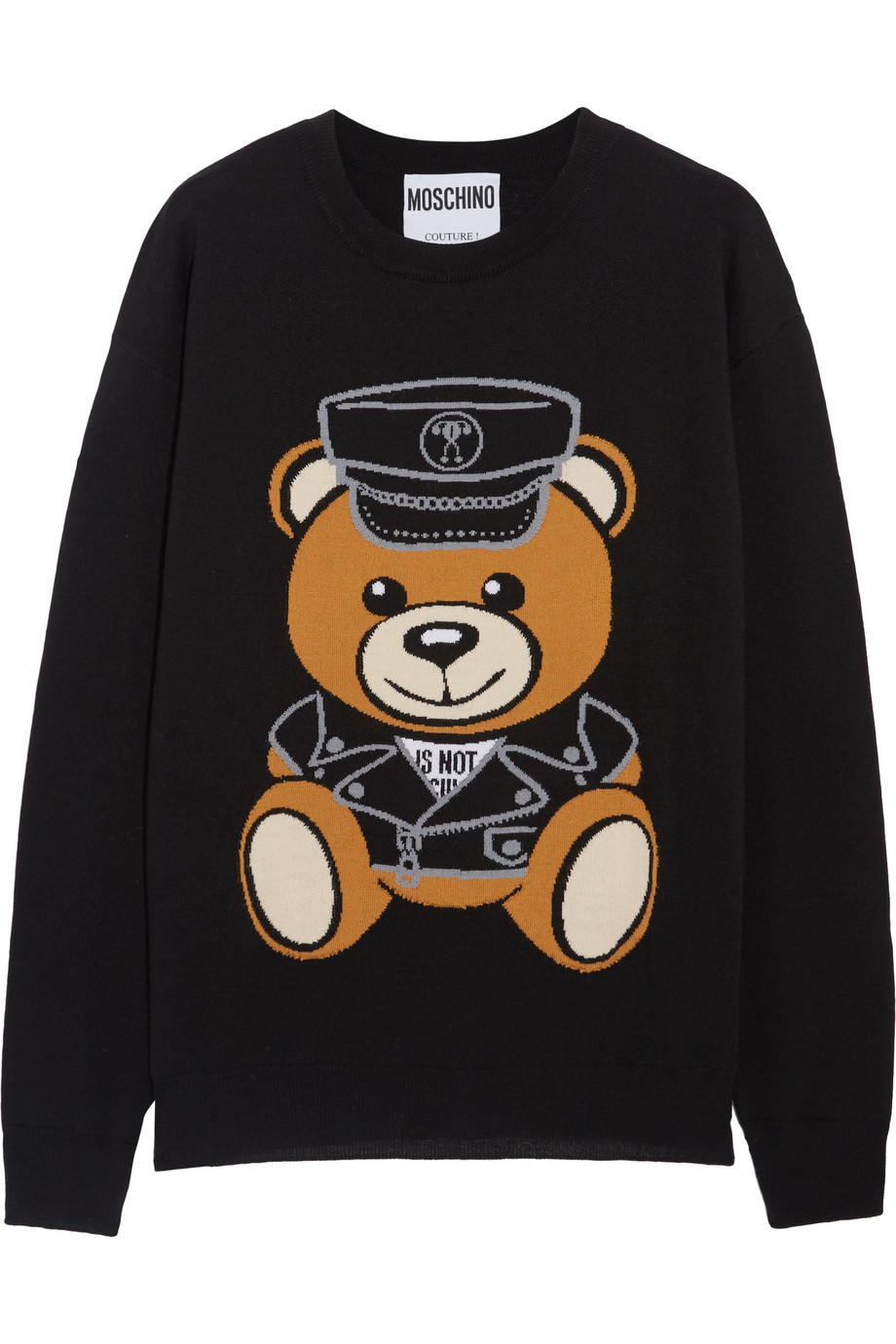 Moschino Intarsia Wool Sweater, Black, Women's, Size: XXS
