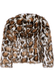 Cropped leopard-print faux fur coat