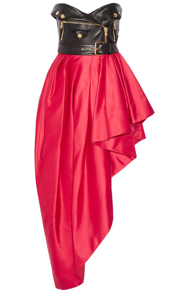 Moschino - Faux Leather And Ruffled Satin Midi Dress - Red
