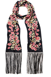 Treasure fringed printed satin scarf