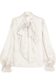 Temperley London Atlas pussy-bow ruffled silk-twill blouse