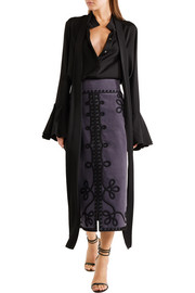 Temperley London Voyage embroidered cotton-blend corduroy midi skirt