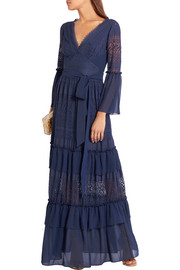Temperley London Cutout chiffon-paneled crocheted lace maxi dress