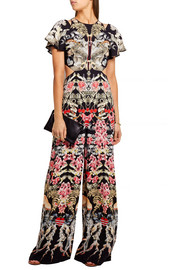 Temperley London Cutout printed crepe de chine jumpsuit