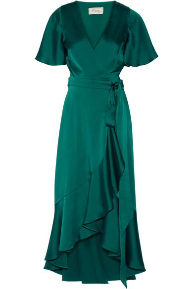 Temperley London - Open-back Duchesse-satin Wrap Dress - Emerald