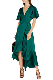 Temperley London Open-back duchesse-satin wrap dress