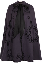 Voyage embroidered wool cape