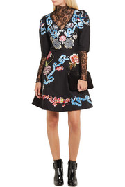 Temperley London Sailor embroidered cotton and silk-blend faille mini dress