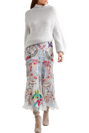 Temperley London Sail embellished embroidered tulle and crepe de chine skirt