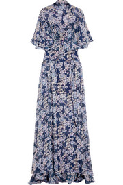 Temperley London Ruffled printed silk-georgette gown