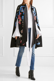 Sail embroidered wool cape