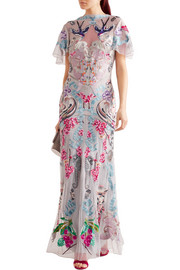 Temperley London Long Sail embellished embroidered tulle and crepe de chine gown