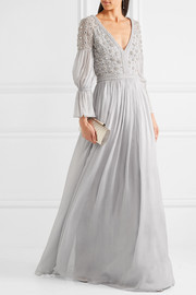 Temperley London Embellished silk-blend gown