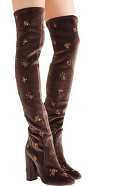 Fauna embellished velvet over-the-knee boots