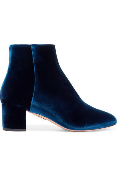 Aquazzura - Baroque Velvet Ankle Boots - Navy