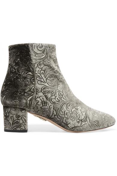 Aquazzura - Baroque Embossed Velvet Ankle Boots - Gray