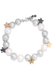 Carolina Bucci Superstellar 18-karat white gold, pearl and sapphire bracelet