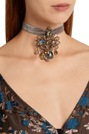 Ginger velvet, silver-tone and crystal choker