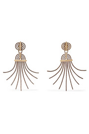 Elvira gold-tone and pewter clip earrings