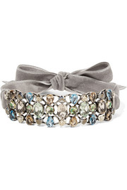 Lanvin Ginger velvet, silver-tone and crystal choker