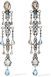 Lanvin Ginger silver-plated crystal clip earrings