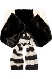 Striped faux fur and wool scarf