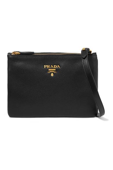 prada female prada texturedleather shoulder bag black