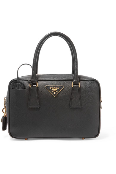 Prada - Bauletto Textured-leather Tote - Black at NET-A-PORTER
