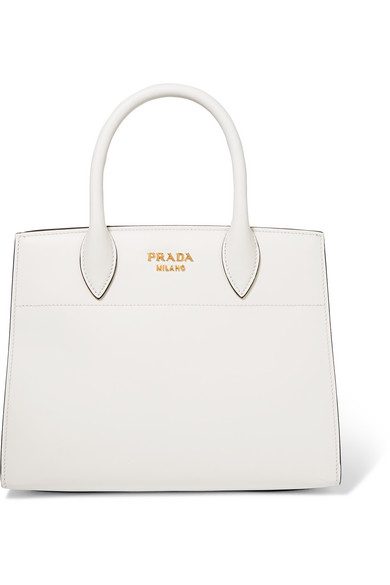 Prada - Bibliothèque Watersnake-paneled Leather Tote - White at NET-A-PORTER