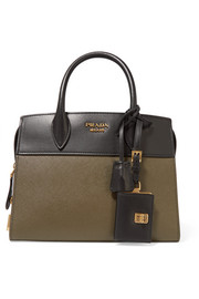 Esplanade small two-tone textured-leather tote