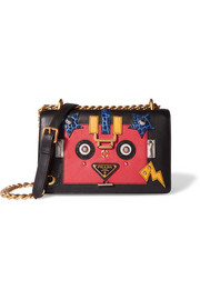 Robot appliquéd textured and croc-effect leather shoulder bag