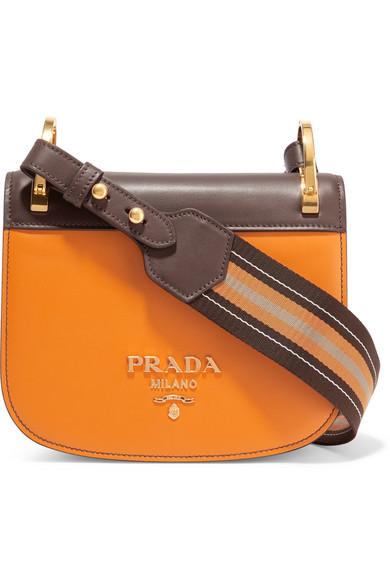 e4c28861f5d7b1 Prada | Pionnière canvas-trimmed two-tone leather shoulder bag | NET ...
