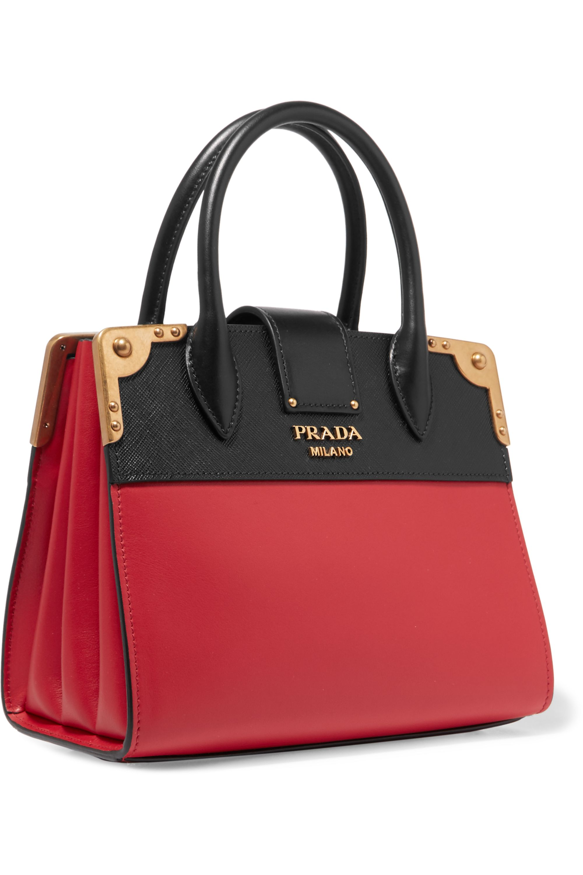 Prada Cahier small two-tone leather tote