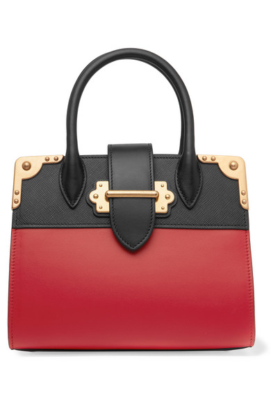 Prada - Cahier Small Two-tone Leather Tote - Red at NET-A-PORTER