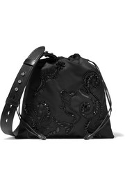 Prada Leather-trimmed embellished shell shoulder bag