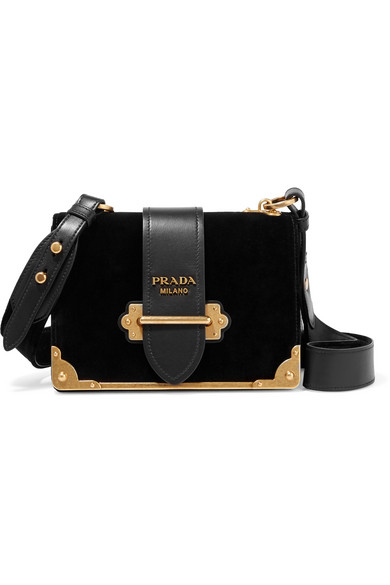 d0eb4e0589e2 Prada. Cahier leather-trimmed velvet shoulder bag