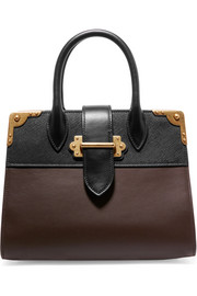 Cahier large two-tone leather tote