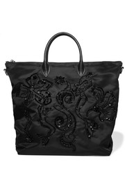 Leather-trimmed embellished shell tote