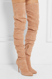 Stretch-suede over-the-knee boots