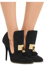 Balmain Embellished tasseled suede pumps