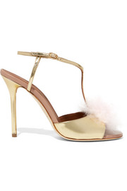Betsy cashmere and metallic leather sandals