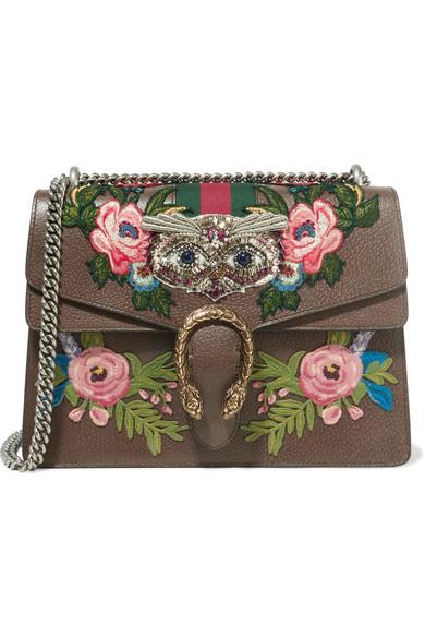 gucci female gucci dionysus medium appliqued embellished leather shoulder bag brown